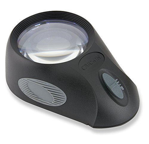 Carson LumiLoupe Ultra 5x LED Lighted Stand Loupe Magnifier with 3 Brightness Settings (LL-88), Black