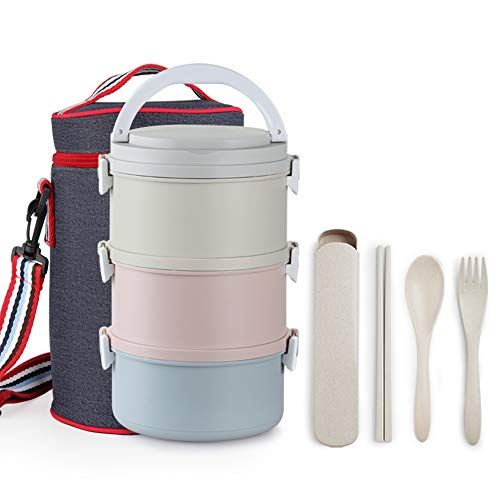 ArderLive Stackable Lunch Box, Leakproof Bento Lunch Box with Lunch Bag& Portable Utensil Set,3 in 1 Reusable Compartment Food Container, Microwave/Freezer Safe(3 Layer)