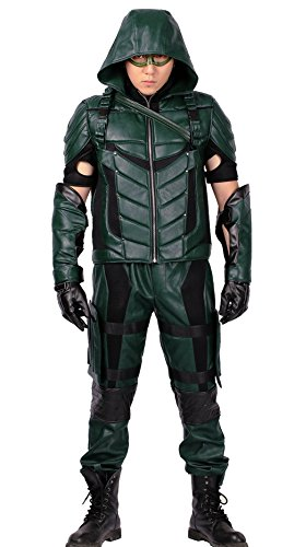 Green Arrow Costume Mask with Quiver for Adult Halloween Cosplay (Small)