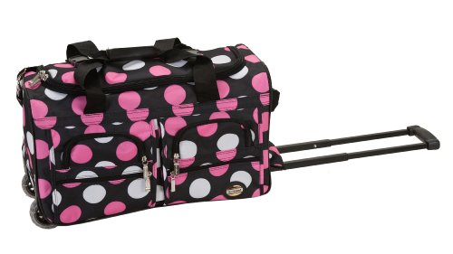 Rockland Rolling Duffel Bag, Multi/Pink Dot, 22-Inch
