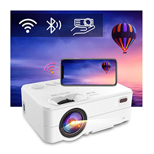 WiFi Bluetooth Projector - Artlii Enjoy 2 Mini Projector for iPhone Support Full HD 1080P and 300'' Display, 6000L Brightness, Keystone & Zoom, Outdoor Projector Compatible with TV Stick, iOS, Android