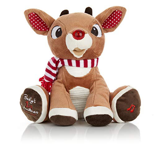 Rudolph The Red-Nosed Reindeer Baby's First Christmas Plush with Music and Lights, 8 Inches
