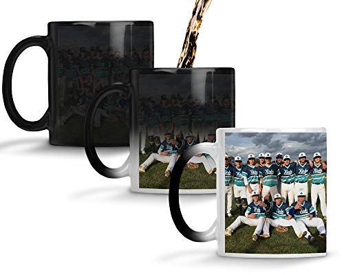 Custom Personalized Heat Sensitive Color Changing Coffee Mug   Custom image Mug Changes to Blank when Cold and Image shows when Hot   No Minimums   11 Ounce Custom Coffee Mug