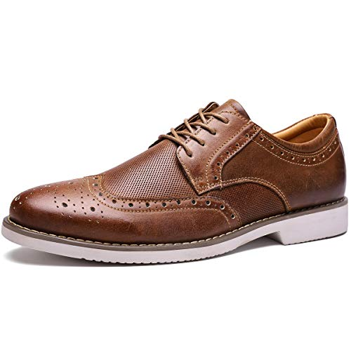 Men's Dress Shoes Wingtip Leather Oxford Lace Up Brogue Brown 9 M US