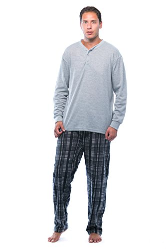 #followme Pajama Set for Men with Thermal Henley Top and Polar Fleece Pants 44909-3A-NEW-L Charcoal