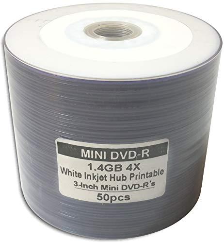 50-Pak 3-Inch White Inkjet Hub Mini DVD-R for Camcorders in Shrinkwrap