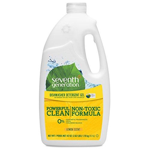 Seventh Generation Dishwasher Detergent Gel Soap, Lemon Scent, 42 Oz. Bottles, Pack of 6, (Packaging May Vary)