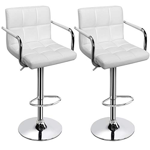 Yaheetech Adjustable Height Bar Stools Swivel Bar Stool Modern PU Leather Armrest Counter/Island High Chairs with Backs Set of 2, White