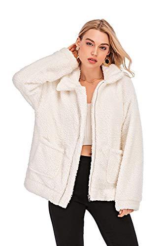 Comeon Women's Faux Fur Jacket Shaggy Jacket Winter Fleece Coat Outwear Shaggy Shearling Jacket