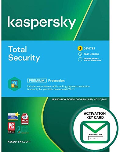 Kaspersky Total Security 2021   3 Devices   1 Year   PC/Mac/Android   Activation Key Card by Post with Antivirus Software, Internet Security, Secure VPN, Password Manager, Safe Kids