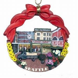 Seattle Christmas Ornament Pikes Public Market Poly Resin 3' Diameter Great Colors !
