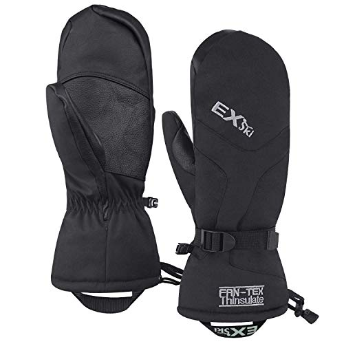 EXski -4℉ (-20℃) Waterproof Winter Gloves Warm 3M Thinsulate Ski Mittens for Cold Weather Snowboard Snowmobile Black X-Large