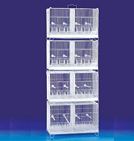 Seny Set of 4 Stackable Breeding Bird Cage for Canary Finch Small Birds (White)