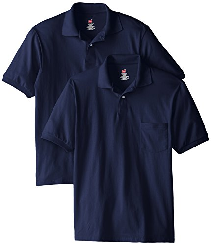Hanes Men's Short Sleeve Jersey Pocket Polo, Navy, 4X-Large (Pack of 2)