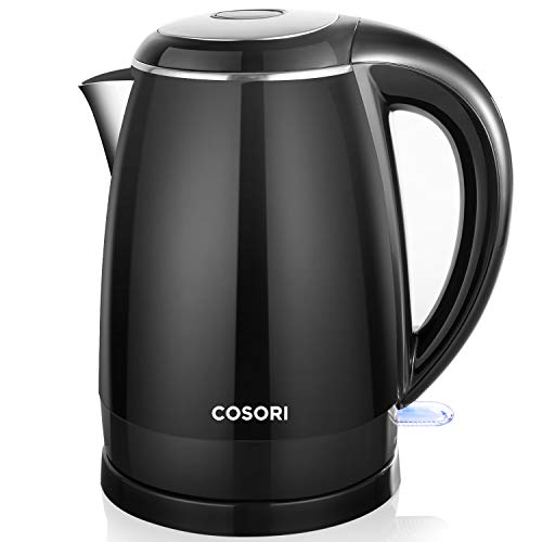 Electric Kettle, COSORI 1.8 Qt Tea Kettle, Double Wall 304 Stainless Steel BPA Free Hot Water Boiler, Auto Shut-Off and Boil-Dry Protection, Cordless, FDA/ETL/CETL Approved