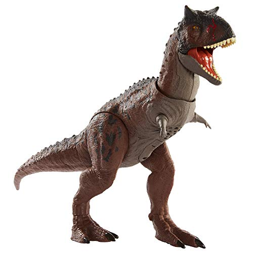 Jurassic World Camp Cretaceous Isla Nublar Control 'N Conquer Carnotaurus Toro Large Dinosaur Figure with Primal Attack Feature, Sounds, Movable Joints, Authentic Detail; Map & Stickers, 4 Years & Up
