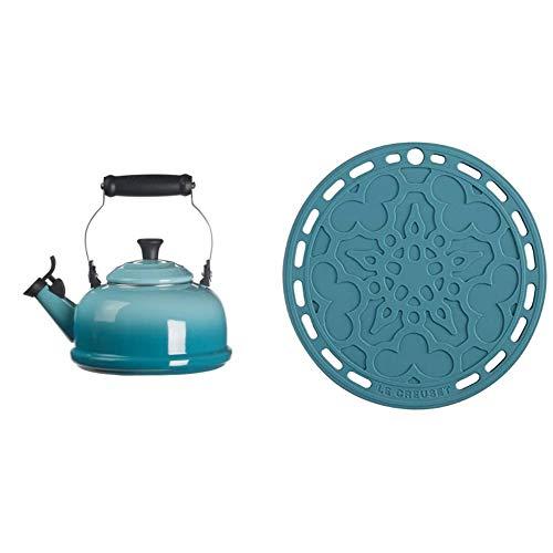Le Creuset Enamel On Steel Whistling Tea Kettle, 1.7 qt, Caribbean & Silicone French Trivet, 8', Caribbean
