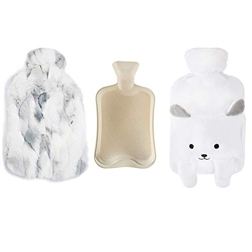 Hot Water Bottle Kits with 2pcs Fleece Cover, 2L Large Rubber Hot Water Bag & Furry Print Covers for Hot & Cold Relief, for Women Children Elderly Injured People (White) 14 x 9 inch