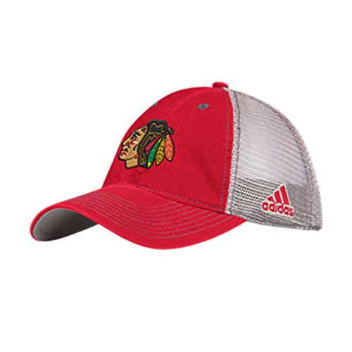 adidas Chicago Blackhawks Adult Flex Slouch Mesh Hat (S/M) Red