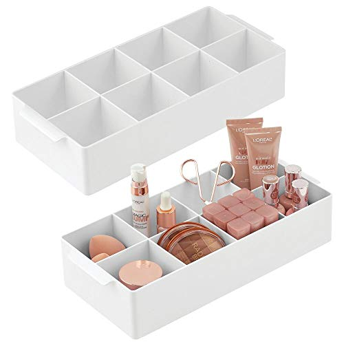 mDesign Plastic Cosmetic Storage Organizer Bin Box - 8 Divided Sections - Holder for Makeup, Cosmetics, Nail Polish, Vitamins, Shaving Kits, Hair Spray, Medical Supplies, First Aid - 2 Pack - White