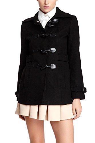 Vertigo Paris Women's Classic Duffle Style Toggle Coat - Black - Large