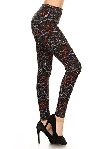R638-EXTRAPLUS Multicolored Scribble Print Fashion Leggings