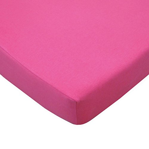 American Baby Company Supreme 100% Natural Cotton Jersey Knit Fitted Crib Sheet for Standard Crib and Toddler Mattresses, Fuschia, Soft Breathable, for Girls