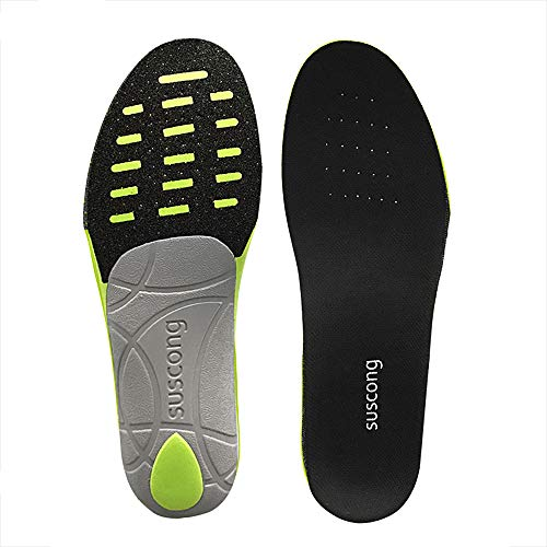 SUSCONG Ultra Light Athlete Performance Sport Shoe Insole with Arch Support, Best Shock Absorption & Cushioning Insoles for Flat Feet, Plantar Fasciitis, Running, Heel Spurs & Foot Pain (L 8-11)