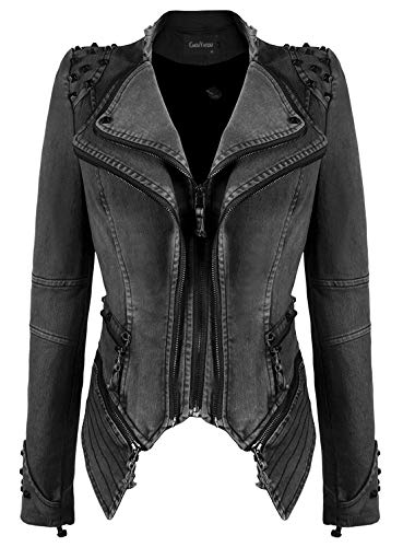 chouyatou Women's Fashion Studded Perfectly Shaping Faux Leather Biker Jacket (Small, Denim-Grey)