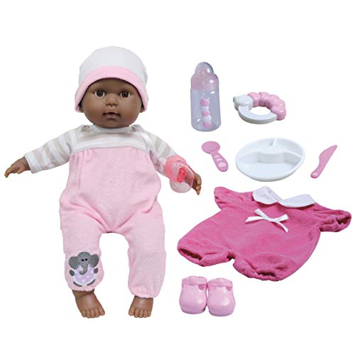 JC Toys Berenguer Boutique 15' African American Soft Body Baby Doll - Pink 10Piece Gift Set with Open/Close Eyes- Perfect for Children 2+