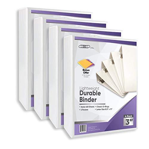 Xcel 3 Ring Binder, 3 Inch Binder, White 4-Pack, Includes Binder Dividers