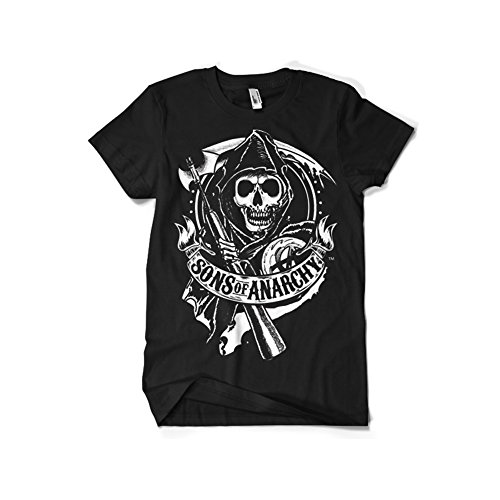 Sons of Anarchy Officially Licensed Merchandise SOA Scroll Reaper T-Shirt (Black), X-Large