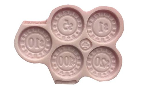CASINO COINS,(real size) Gambling, (MEASUREMENTS SECOND PICTURE/NO RETURNS) Silicone Mold By Oh! Sweet Art