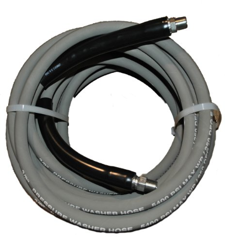 JGB Enterprises AEFG0102GGG602 Eagle Hose Eagleflex II 5400 Wrapped Grey Nitrile RMA Class B Pressure Washer Hose Assembly, 3/8' NPT Male X NPT Male Swivel with Guards, 5400 psi MaxPressure, 50' Length, 3/8' Hose ID, Gray