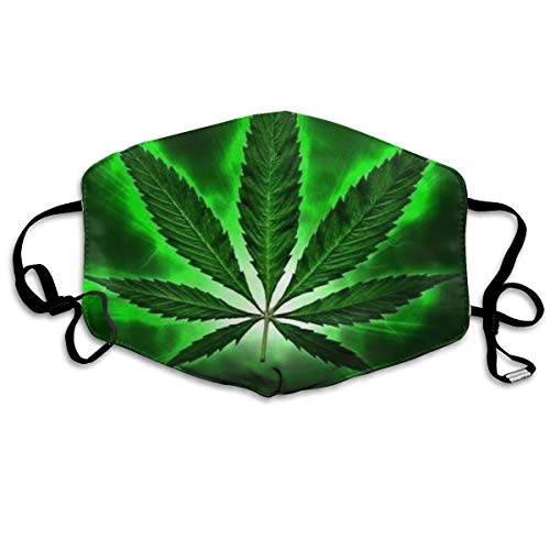 Green Marijuana Leaf Weed Black Printed Facial Decorations For Women And Men