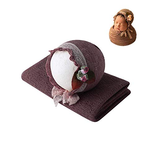 Newborn Infant Baby Photography Props Boys Girls Hat with Blanket Wrap Photo Shoot Set (Dark Brown)