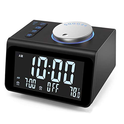 【Upgraded】 Digital Alarm Clock, with FM Radio, Dual USB Charging Ports, Temperature Detect, Dual Alarms, Snooze, 5-Level Brightness Dimmer, Batteries Operated, for Bedroom, Small Sleep Timer (Black)