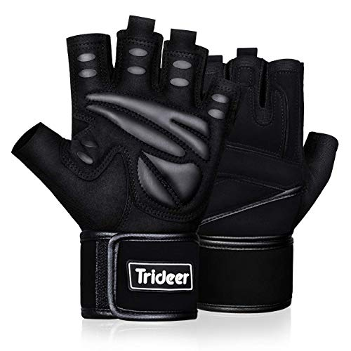 Trideer Padded Weight Lifting Gym Workout Gloves with Wrist Support, Exercise Lifting Gloves, Full Palm Protection & Extra Grip for Weightlifting, Cross Training, Fitness, Pull-up