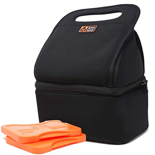 Lava Lunch️ Lunch Box Insulated Lunch Bag | Large Heated & Cooled Double Deck Lunch Box for Men, Women, & Kids (Black) | Comes with Heat Packs (Lava Rocks)