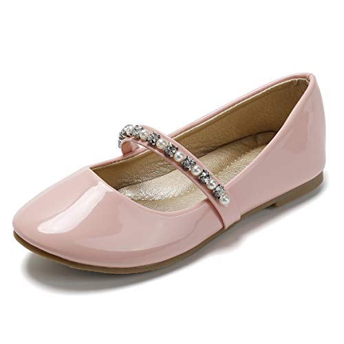 SANDALUP Little Girls Dress Shoes Ballet Flats Inlaid with Pearl and Rhinestone Strap Patent Pink 02