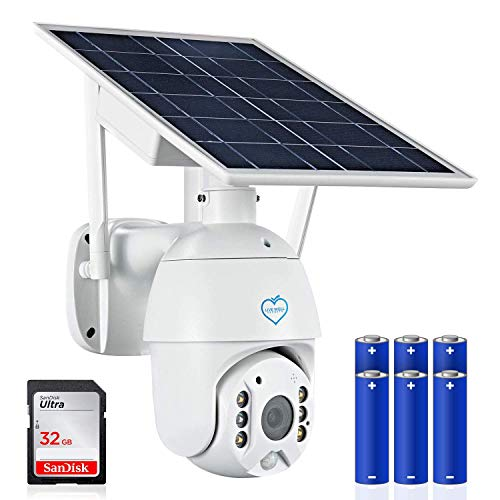 Live Well Secrets Solar Wireless Cameras for Home Security-360 doorbell Surveillance Camera. WiFi Camera System + 6 x 18650 Batteries + 32GB SD Card, Night Vision, 2 Way comm, and Motion Detection