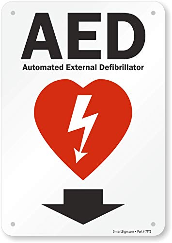 SmartSign - S-4909-PL-10 'AED - Automated External Defibrillator' Sign With Down Arrow| 7' x 10' Plastic