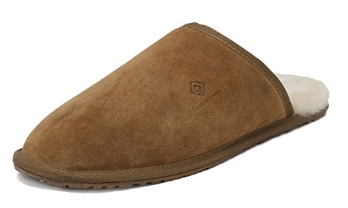 DREAM PAIRS Men's Avalon Tan Suede Leather Sheepskin Fur Slippers Size 14 M US