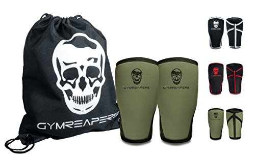 Knee Sleeves (Pair w/Bag) - Knee Compression Sleeve Support for Squats, Weightlifting, and Powerlifting - Gymreapers 7MM Neoprene Sleeves - 1 Year Warranty (Military Green/Black, Large)