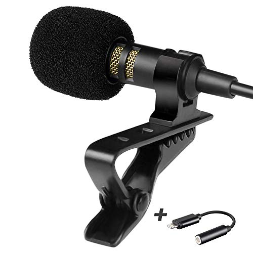 Professional Grade Lavalier Microphone with Adapter Compatible with iPhone - Lapel Microphone for iPhone 5 6 7 8 X 11 Pro Max - iPhone Compatible External Microphone - iPhone XR, XS, XS Max Microphone