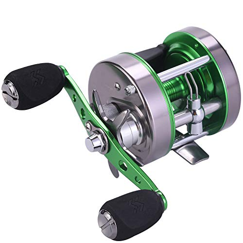 Sougayilang Rover Round Baitcasting Reel, Conventional Reel Reinforced Metal Body for Catfish, Salmon and Inshore Saltwater Fishing-Corrosion Protection (Right Hand, XLT-60)