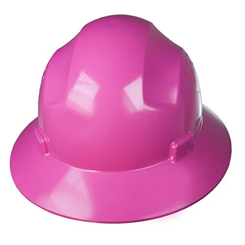 JORESTECH Safety Hard Hat Pink HDPE Full Brim Helmet with 4-Point Adjustable Ratchet Suspension For Work, Home, and General Headwear Protection ANSI Z89.1-14 Compliant HHAT-02
