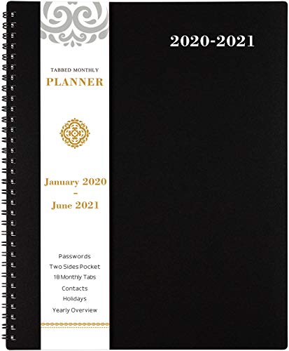 2020-2021 Monthly Planner - 18-Month Planner with Tabs & Pocket & Label, Contacts and Passwords, 8.5' x 11', Thick Paper, July 2020 - December 2021, Twin-Wire Binding - Black by Artfan