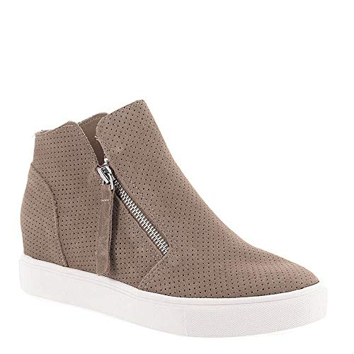 Steve Madden Women's Caliber Wedge Sneaker, Taupe Suede, 5.5 M US
