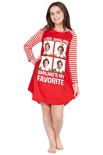 Elf The Movie Will Farrell Santa Holiday Christmas Fleece Raglan Nightgown Sleepshirt Pajama, Red, 10/12